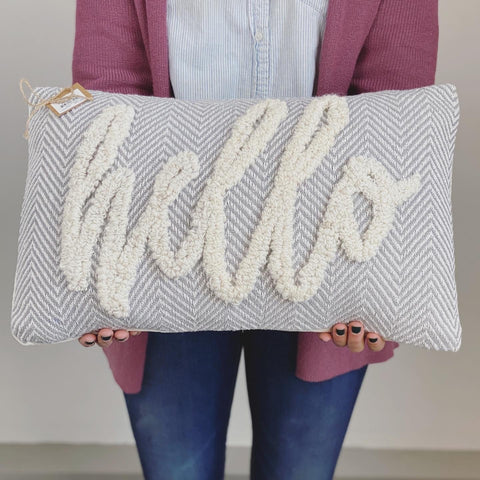 HELLO TUFTED PILLOW