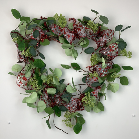 VALENTINES HEART SHAPED WREATH W/ EUCALYPTUS