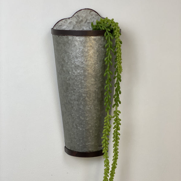 "16"" GALVANIZED WALL PLANTER"
