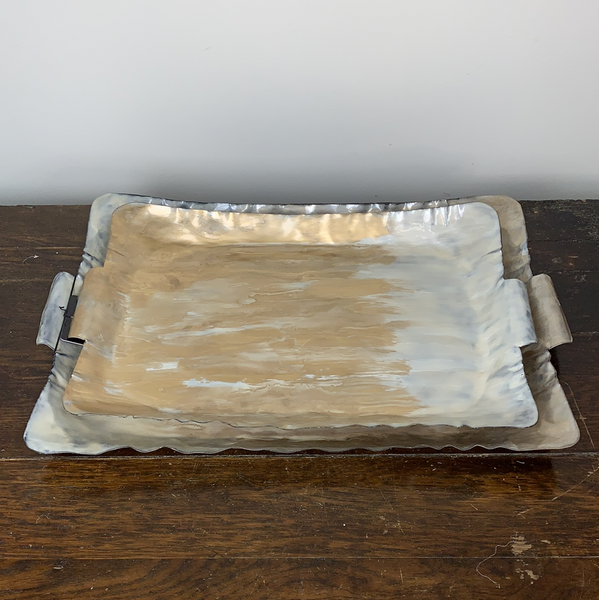 CREAM METAL TRAY