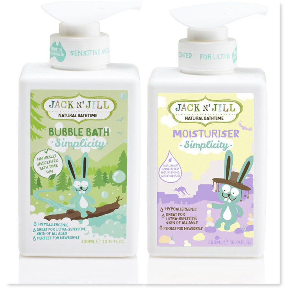 DUO: JACK N' JILL Simplicity Bubble Bath & Moisturiser 300ml Sensitive Skin - InnerCity Style & Gifts