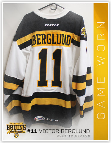#11 Victor Berglund 2018-19 Game Worn White Jersey