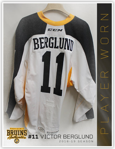 #11 Victor Berglund 2018-19 Warmup Worn Jersey To Benefit Hasbro Children's Hospital