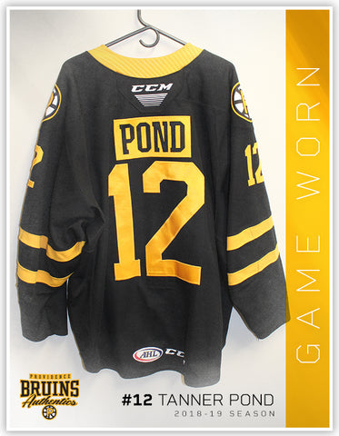 #12 Tanner Pond 2018-19 Game Worn Black Jersey