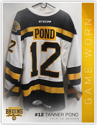 #12 Tanner Pond 2018-19 Game Worn White Jersey