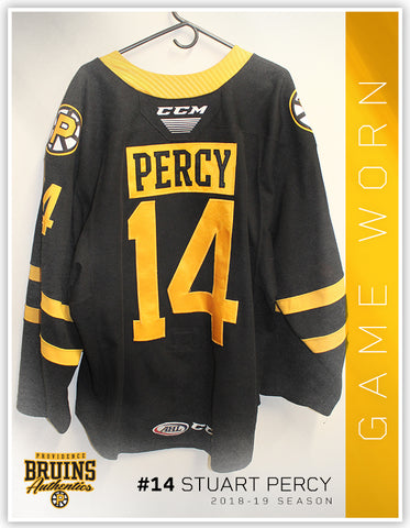 #14 Stuart Percy 2018-19 Game Worn Black Jersey