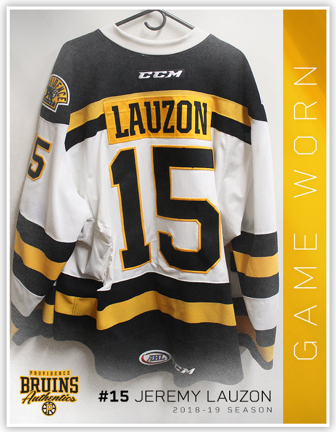 best loved 58bb5 ce95a #15 Jeremy Lauzon 2018-19 Game Worn White Jersey