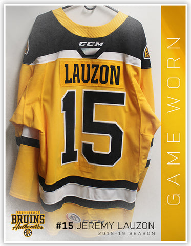 #15 Jeremy Lauzon 2018-19 Game Worn Gold Jersey