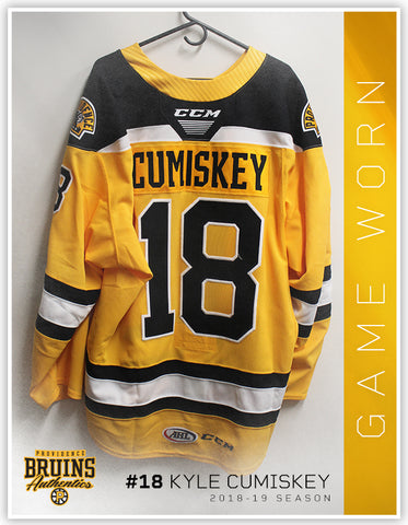#18 Kyle Cumiskey 2018-19 Game Worn Gold Jersey