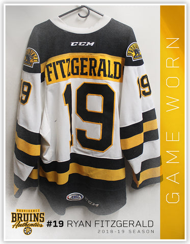 #19 Ryan Fitzgerald 2018-19 Game Worn White Jersey