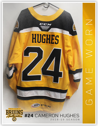 #24 Cameron Hughes 2018-19 Game Worn Gold Jersey