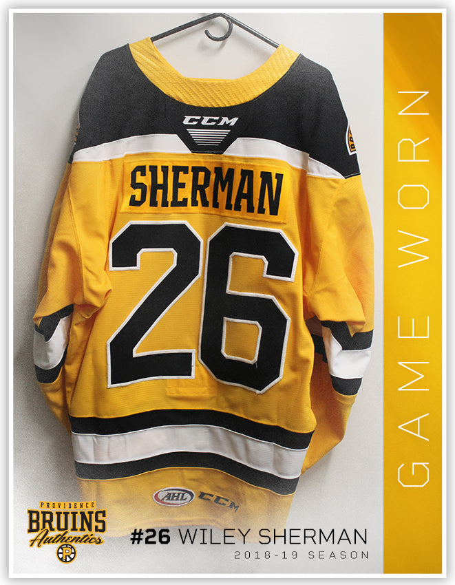 #26 Wiley Sherman 2018-19 Game Worn Gold Jersey