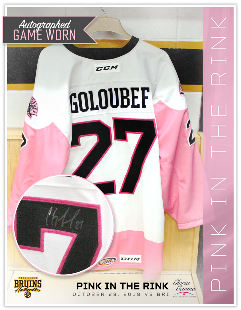 #27 Cody Goloubef 2018 Autographed Game Worn Pink in the Rink Jersey