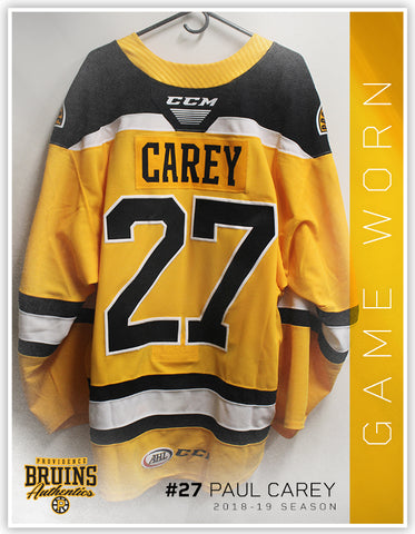 #27 Paul Carey 2018-19 Game Worn Gold Jersey