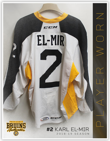 #2 Karl El-Mir 2018-19 Warmup Worn Jersey To Benefit Hasbro Children's Hospital