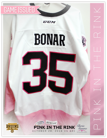 #35 Sean Bonar 2018 Game Issued Pink in the Rink Jersey