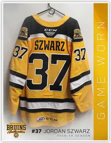 #37 Jordan Szwarz 2018-19 Game Worn Gold Jersey