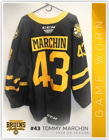 #43 Tommy Marchin 2018-19 Game Worn Black Jersey