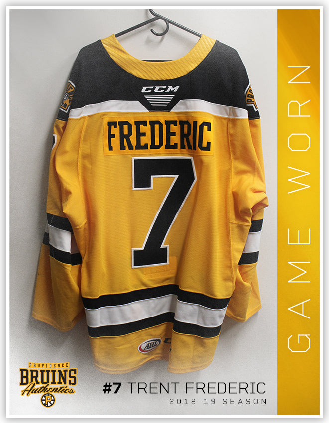 new product 54caf 063a0 #7 Trent Frederic 2018-19 Game Worn Gold Jersey