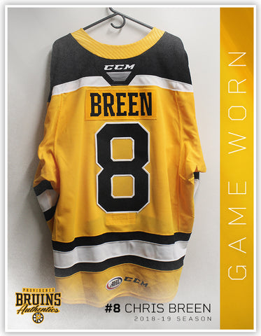 #8 Chris Breen 2018-19 Game Worn Gold Jersey