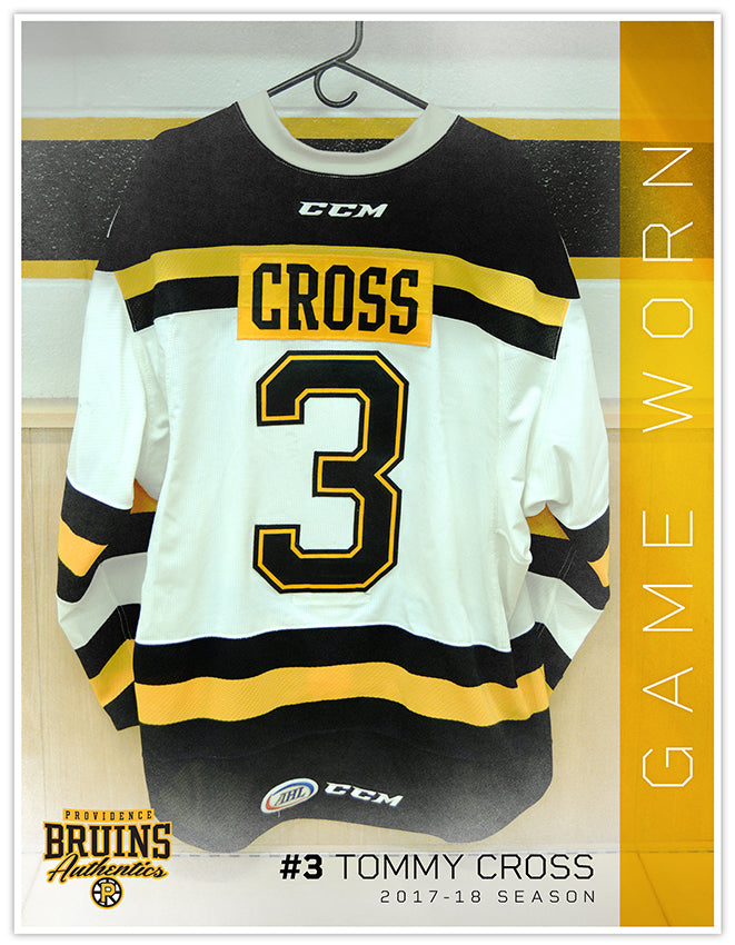 #3 Tommy Cross 2017-18 Game Worn White Jersey