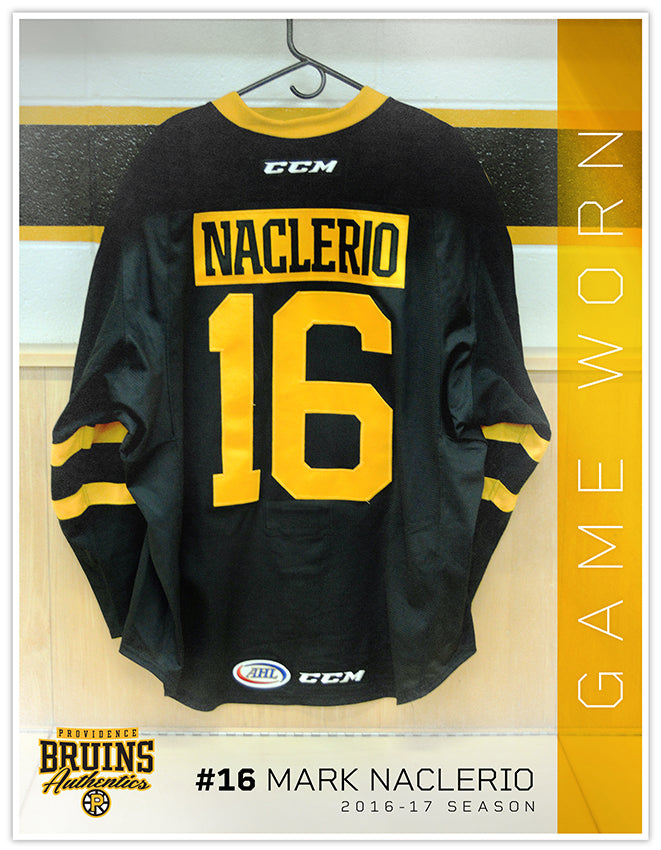 #16 Mark Naclerio 2016-17 Game Worn Black Jersey