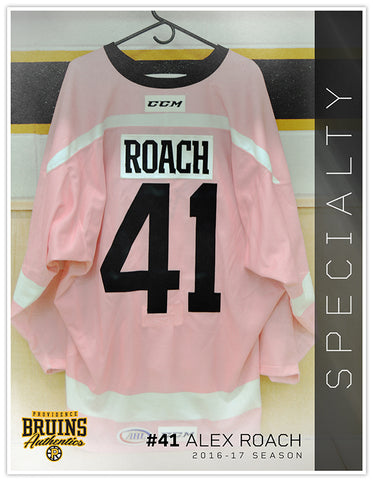#41 Alex Roach 2016-17 Game Issued Pink in the Rink Jersey