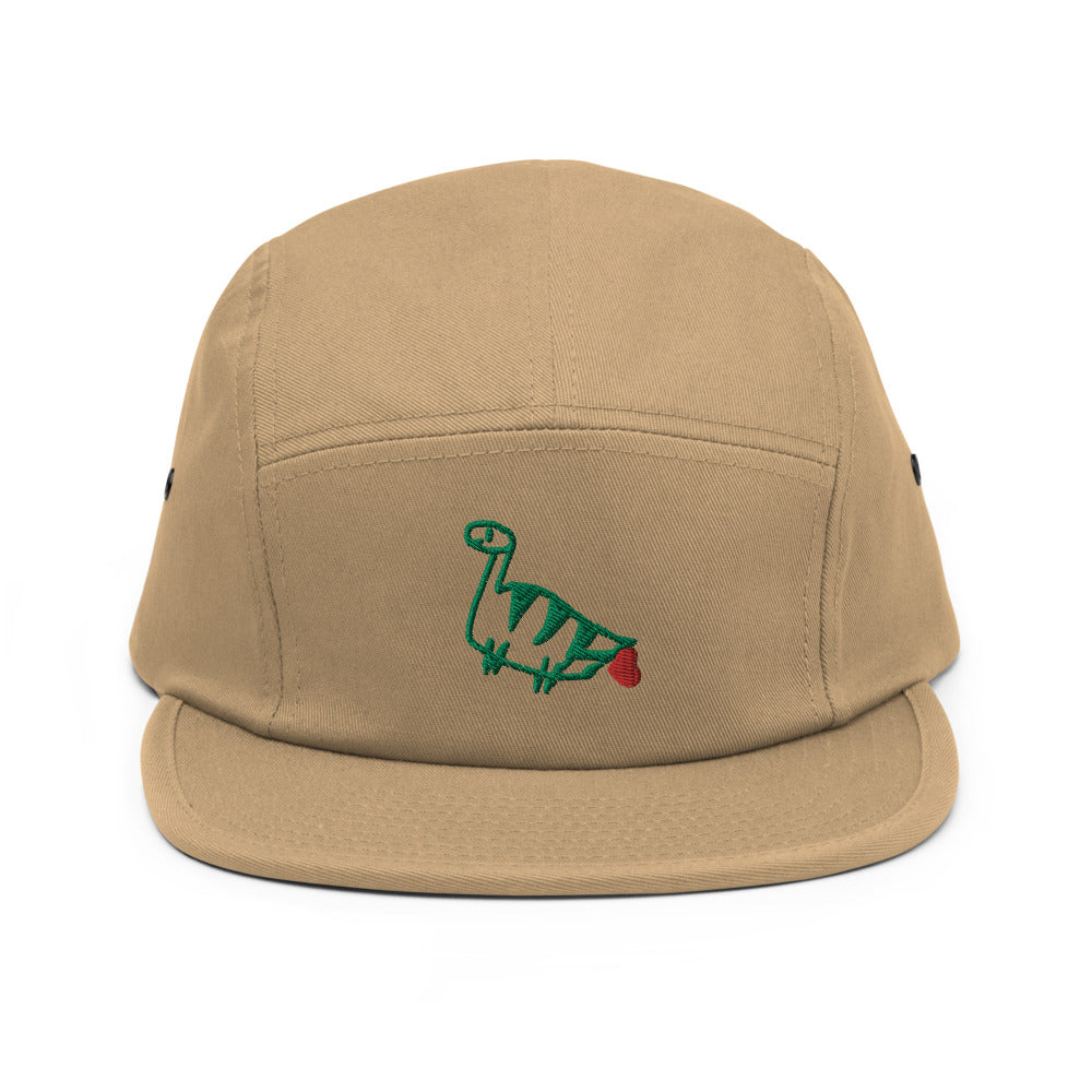 farting dinosaur - embroidered five panel hat
