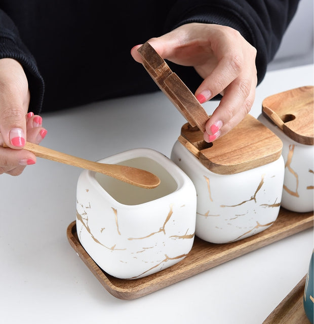 Nordic Style Marble Seasoning Set