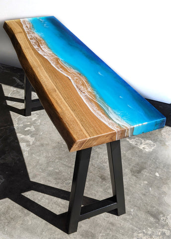 epoxy resin ocean beach top on marri live edge slab. made in perth australia by flowing wood designs