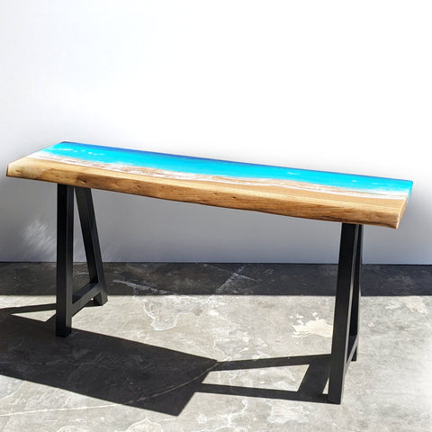 live edge marri slab hall table with steel industrial legs. Epoxy resin art on top with ocean and waves inspired by mullaloo