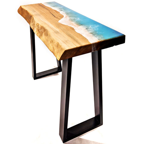 Marri hall table with ocean beach resin. Made in Perth, Western Australia by Flowing Wood Designs