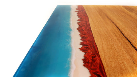 ocean resin bar top. Cape leveque red rocks in Western Australia with Marri wood