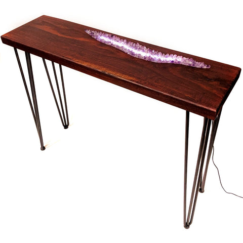 Crystal table amethyst in Jarrah hall table with led lights. Made in Perth Western Australia