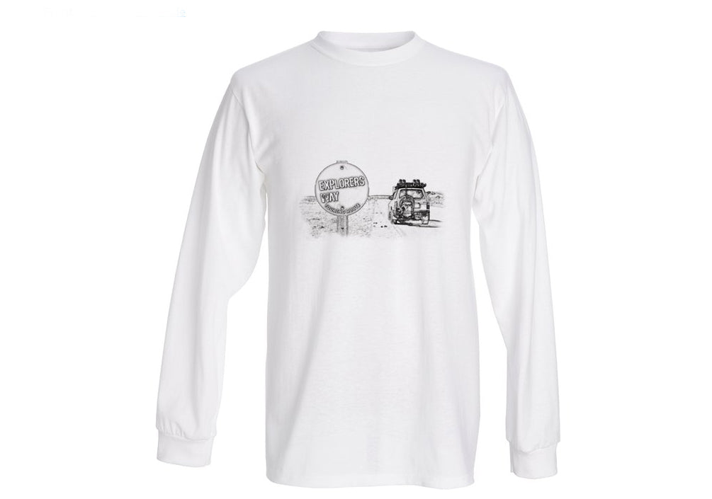 Outback - T Shirt Long Sleeve (Unisex) PENCIL SKETCH TOURING ROUTE