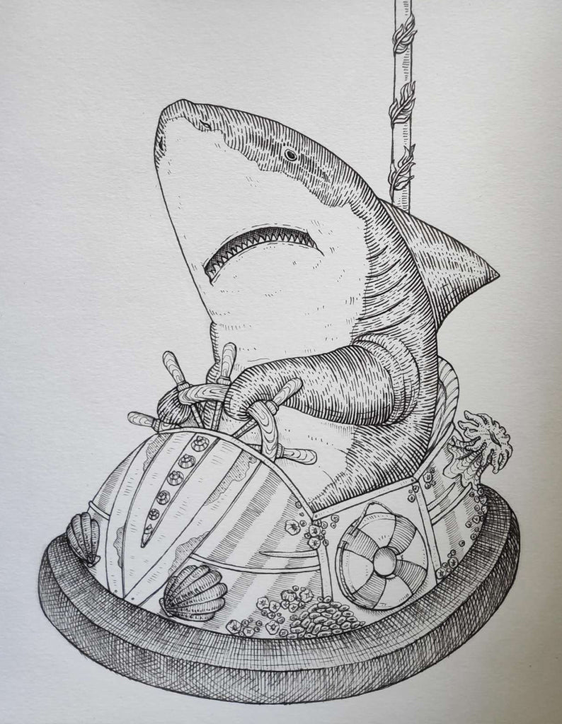 Shark Bumper car original drawing