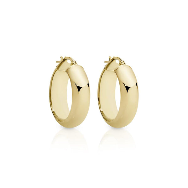 9Ct Gold 15Mm Half Round Hoop Earrings