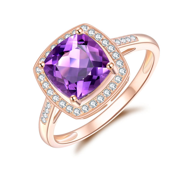 9Ct Rose Gold Amethyst & 0.182Ct Diamond Ring