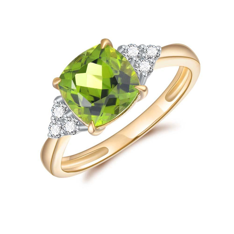Peridot & Diamond Ring in 9ct Yellow Gold