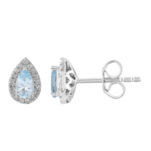 Aquamarine Stud Earrings with 0.1ct Diamonds in 9K White Gold