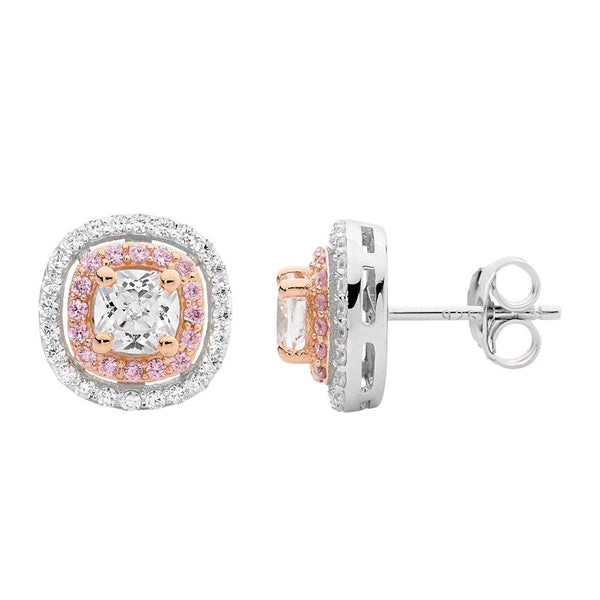 Rose Gold Plated Sterling Silver Cubic Zirconia Stud Earrings