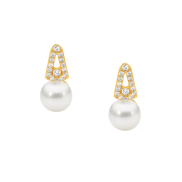 Gold Plated Sterling Silver Cubic Zirconia Freshwater Pearl Stud Earrings