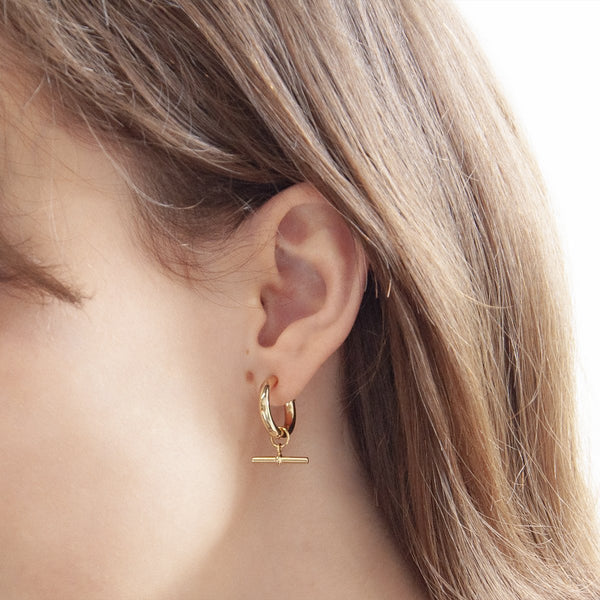 Najo T-bar Hoop Gold Earring