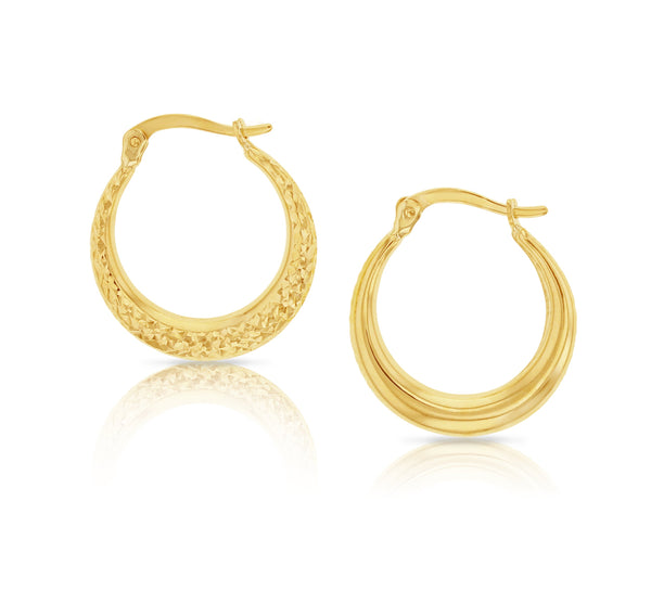 Fancy Crescent Earrings in 9ct Yellow Gold