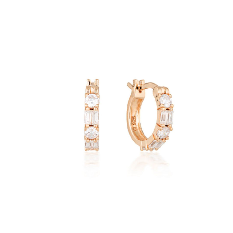 Georgini-Irini Small Rose Gold Plated Sterling Silver Cubic Zirconia Huggie Earrings