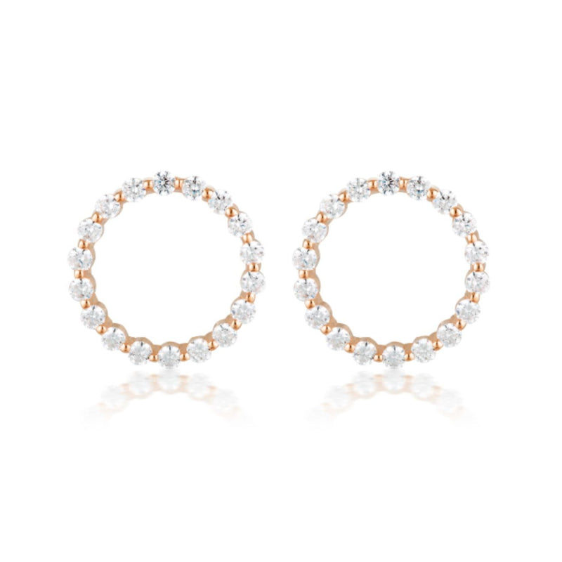 Georgini-Circle Of Life Large Rose Gold Plated Sterling Silver Cubic Zirconia Stud Earrings