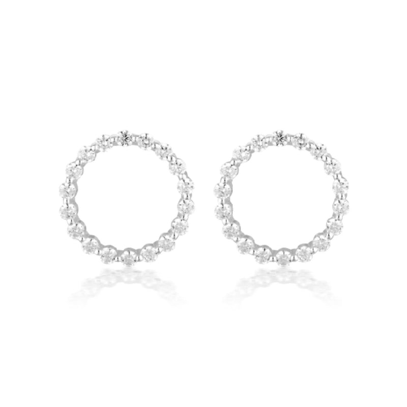 Georgini-Circle Of Life Large Sterling Silver Cubic Zirconia Stud Earrings