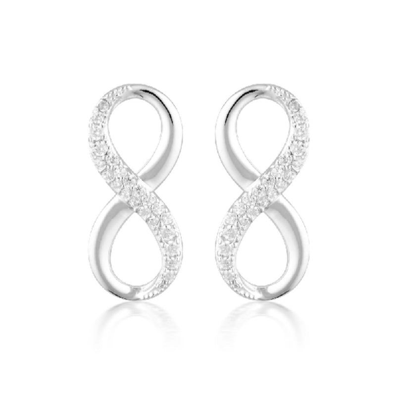 Georgini-Forever Infinity Sterling Silver Cubic Zirconia Stud Earrings