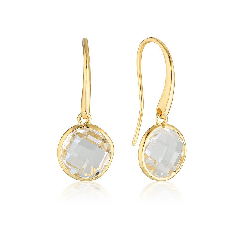 Georgini - Lucent Yellow Gold Cubic Zirconia Drop Earrings Large