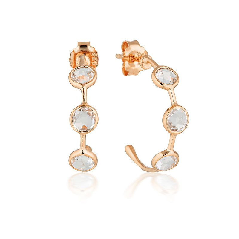 Georgini - Kiklo Rose Gold White Topaz Hoop Earrings